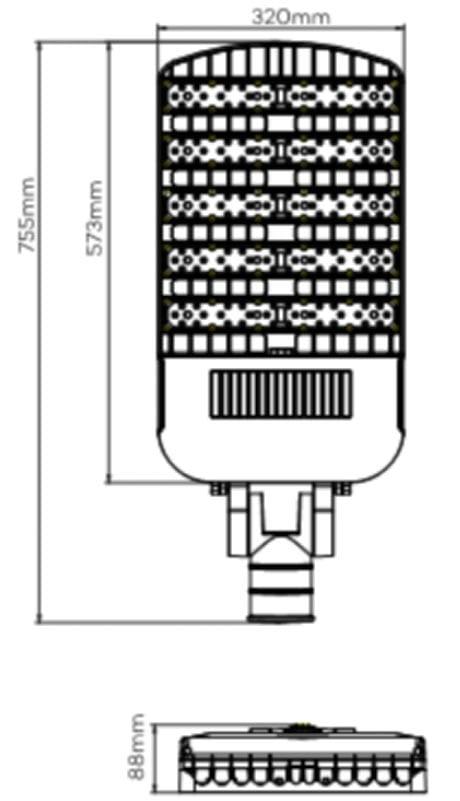 250w led street light size